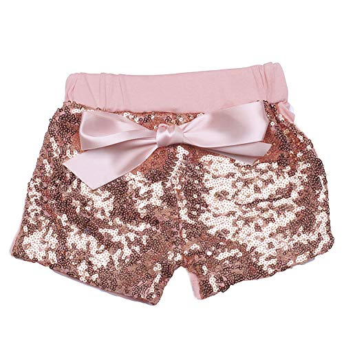 Digirlsor Baby Girls Sequin Shorts Toddler Kids Bowknot Cotton Short Pants Sparkles on Both Sides,1-8Y (7-8 Years /Tag3XL, Rose Gold Sequin) by Digirlsor