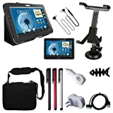 "10 Accessories for Samsung Galaxy Note 10.1 N8000:Skque Black Porfolio Leather Case Cover Stand + Clear Screen Protector + 3.5mm Stereo Headset + Car Mount Holder + 3x Stylus Pen + USB Charge/Sync Transfer Data Cable + 10.2"" Memory Foam Bag/Case + White USB Car/Wall Charger Adapter with Free Fish Bone Holder"