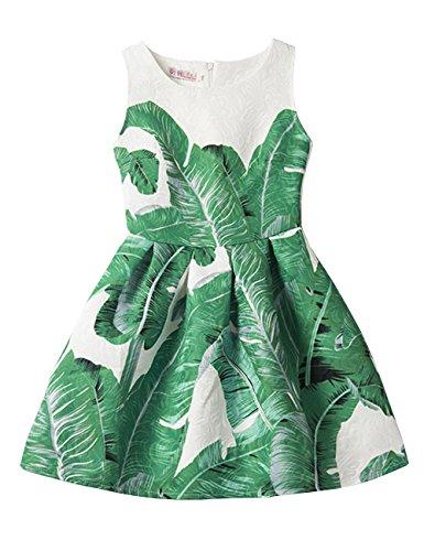 21KIDS Summer A Line Sleeveless Creative Art Colorful Print Girls Floral Casual Dress,6,Green Leaf -