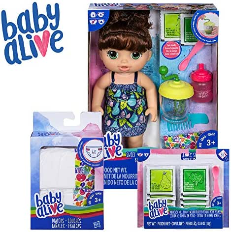 Baby Alive Sweet Spoonfuls Baby Brown Hair Doll, Bundle Exclusive, Powdered Food and Diaper Refill, Toy for Kids 3 Years Old and Up