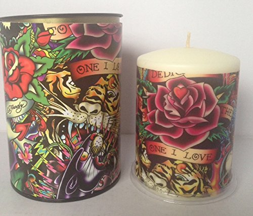 Ed Hardy Candle Unscented 3 by 4 Pillar, Allover