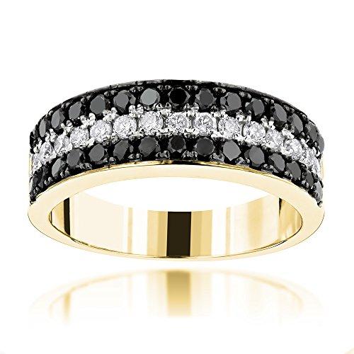 Luxurman Unique 10K 3 Row White Black 1.3 Ctw Natural Diamond Wedding Band (Yellow Gold Size 9) by Luxurman