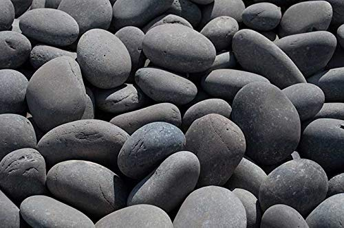"""AA Plus Shop Grey Mexican Beach Stone Pebbles 30LB, 3-5"""" inches Landscaping Decor Rocks"""