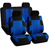 FH-FB071114-SEAT Full Set Travel Master Seat Covers Airbag Ready & Rear Split Bench Blue/Black Color-Fit Most Car, Truck, Suv, or Van