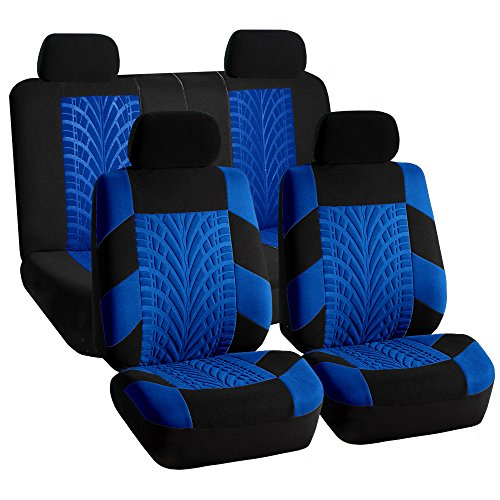 FH GROUP FH-FB071114-SEAT Full Set Travel Master Seat Covers Airbag Ready & Rear Split Bench Blue/Black Color-Fit Most Car, Truck, Suv, or Van
