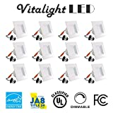 (12 Pack) 4-inch LED Square Downlight Trim, 10W (100W Replacement), Square Recessed Light, Dimmable, 700LM, Energy Star, Retrofit LED Recessed Lighting Fixture (3000K Soft White)