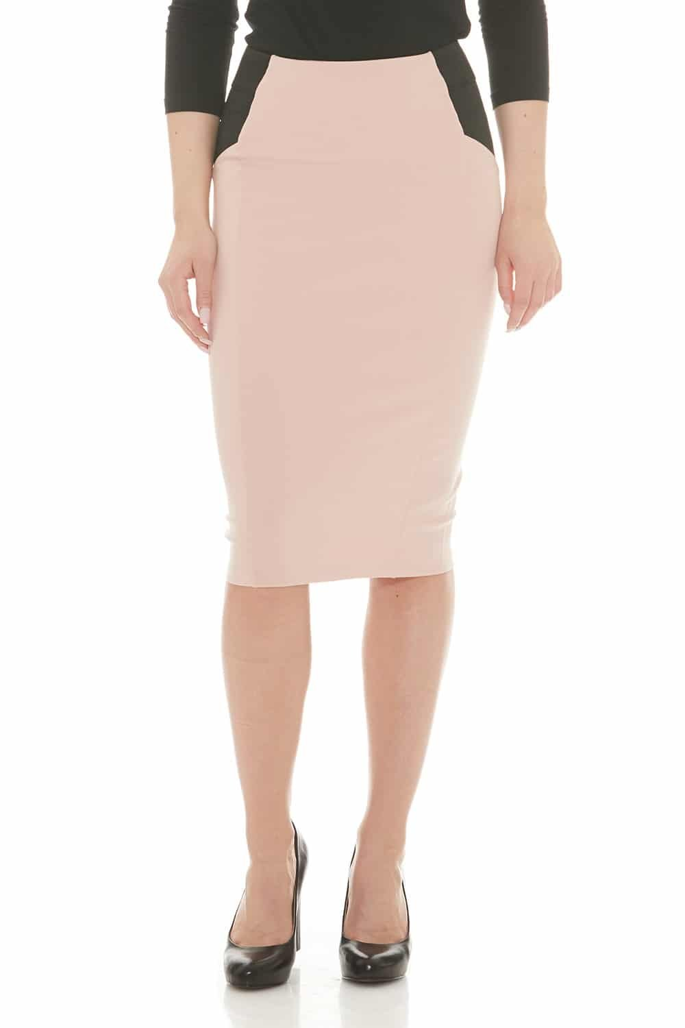 Esteez Ponte Pencil Skirt for Women Below Knee Skirt Charlotte Pink 3X