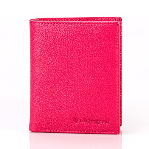 Small women wallet, RFID Blocking Wallet Trifold Genuine Leather Purse with 2 Cash Compartment And 15 Card Solts by Lackingone, Credit Card Protector with ID Windows(4.33