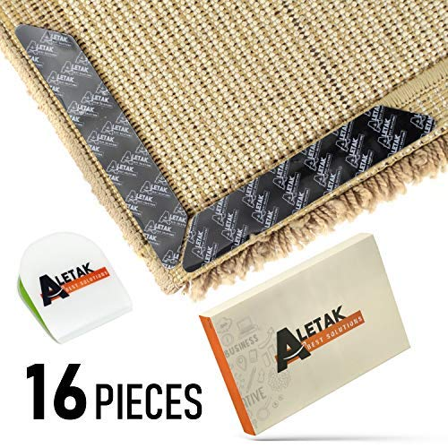 Anti Curling and Anti Slip Rug Gripper - Bonus Phone Sticker Holder - 3M Premium Carpet Gripper Tape - Keeps Your Rug in Place and Makes Corners Flat - 16 pcs Large Size ()