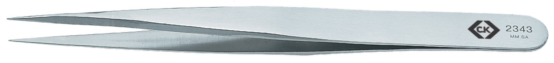 C. K Tools T2343 Stainless Steel Precision Tweezers, Fine, Straight Tips, 5-Inch OAL