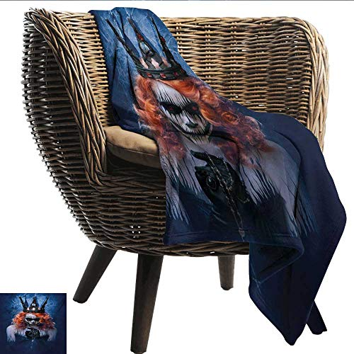 smllmoonDecor Decorative Throwing Blanket Queen Queen of Death Scary Body Art Halloween Evil Face Bizarre Make Up Zombie Bedroom Warm W60 xL80 Sofa,Picnic,Camping,Beach,Everyday use