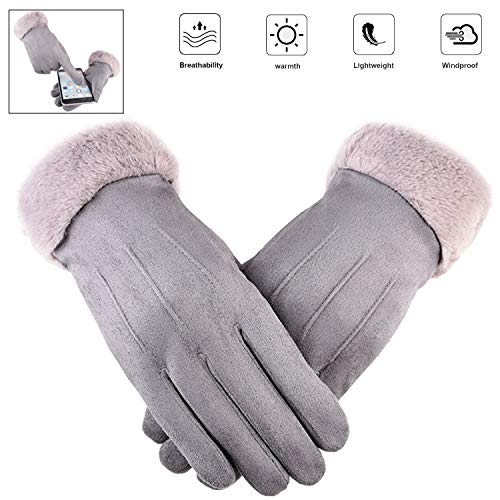 Winter Touchscreen Gloves for Women Warm Suede Gloves with Thick Velvet, Texting Mittens Gloves Touchscreen Women Cotton Gloves