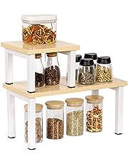 OROPY Set van 2 Stapelbare Opbergruimte voor aanrecht met vierkante pijpstandaard, vrijstaande bureau- en Voorraadrek, multifunctionele Organizer voor keukengerei, kruidenflessen