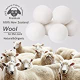 Budieggs Wool Dryer Balls Organic XL 6-Pack, Reusable 100% Natural Fabric Softener, Baby Safe & Hypoallergenic, Reduce Wrinkles & Drying Time, Chemical Free Premium New Zealand Wool (White-XL)