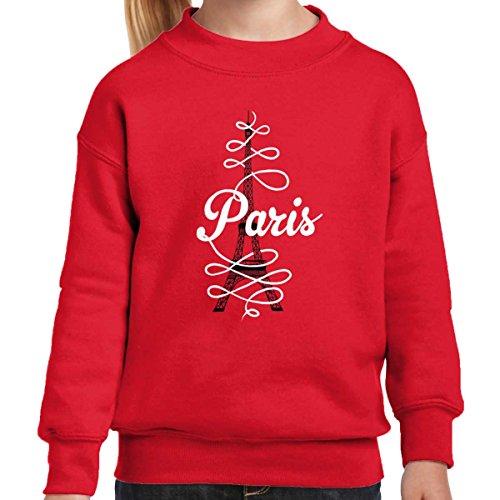 (Paris Script Eiffel Tower French Parisian Youth Sweatshirt Red)