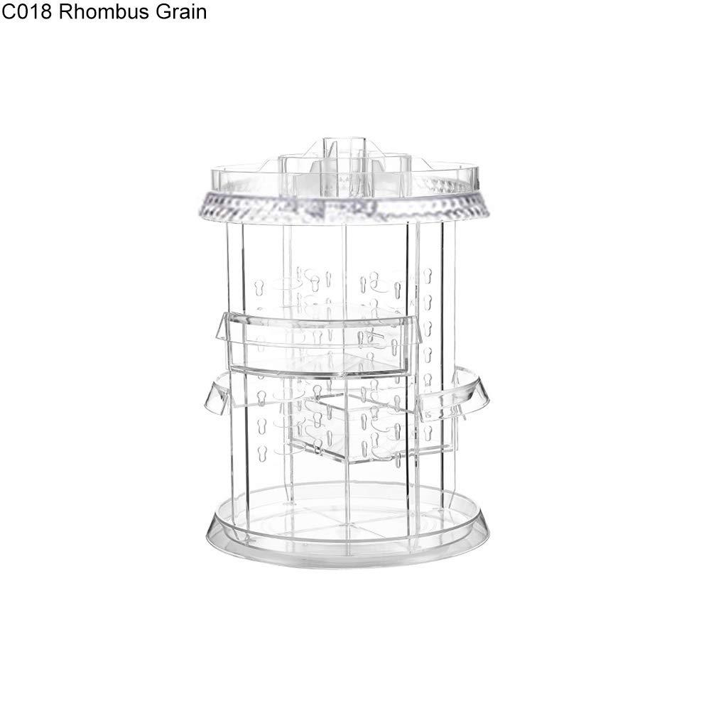 ink2055 360 Rotated Detachable Cosmetics Jewelry Box Storage Race Case Sundries Organizer - C018 Rhombus Grain