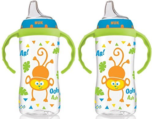 NUK 10 Ounce Jungle Large Learner Cup With Handles, 2 Pack, Boy ()