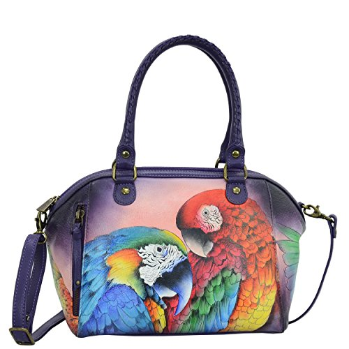 (Anuschka Women's Medium Leather Hand Painted Shoulder Bag, Rainforest Royalty)