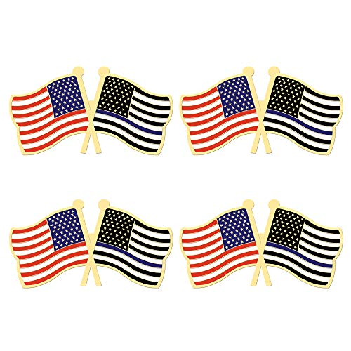 ALEY 4 Pack Thin Blue Line USA American Police Flag Pin Small Mini Honoring Law Enforcement Officers US Flags Lapel Pins,Police Theme Party Event Decorations