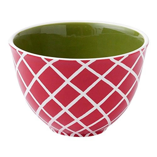 UPC 763795153305, Hallmark Home Ceramic Holiday Serving Bowl, Small Red and White with Green Interior