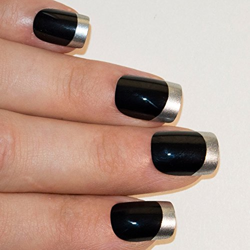 Squoval Silvers: Bling Art False Nails French Fake Black Silver Squoval 24