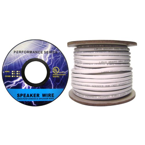 Speaker Cable, White, Pure Copper, CM/In-wall rated, 16/4 (16 AWG 4 Conductor), 65 Strand / 0.16mm, Spool, 50 foot by CableWholesale (Image #1)
