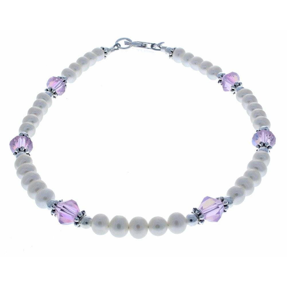 Womens Fresh Water Cultured Pearls, Czech Fire Polished Glass & Sterling Silver Anklet with Daisies - 12''