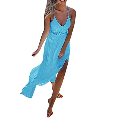 6a56d7bb9d Ladies Summer Solid Color Dress Womens Lace Boho Long Maxi Dress Evening  Party Beach Floral Dress Casual Party Elegant Dress Fashion New Look:  Amazon.co.uk: ...