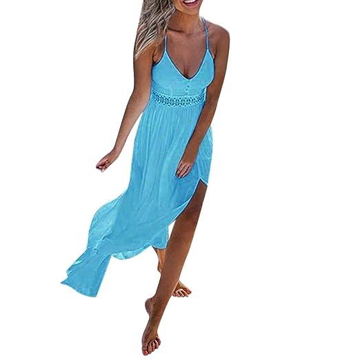 ed73b438b6 Sunhusing Ladies Summer Solid Color Sexy Off-Shoulder Sling Dress Bohemian  Beach Style Long Maxi