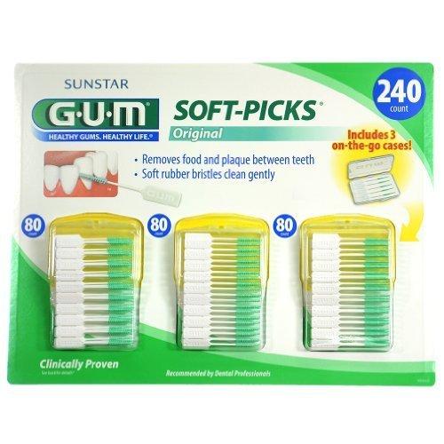 Sunstar GUM Soft-picks with Convenient Travel Cases, 3 Pa...