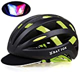 KINGBIKE Batfox Road Bicycle Bike Helmet Adult Unisex Lightweight for Road Commuter Street MTB Mountain Bike with Helmet Rain Cover and Safety Rechargeable LED Light(Matte Black+ Green)