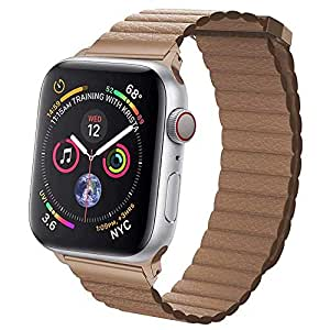 EWORLD Sport Loop Compatible with Apple Watch 38mm 40mm Leather Band with Strong Magnetive Closure, Strap Replacement for iWatch Series 4/3 / 2/1 - Brown