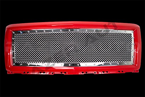 Billet Putco Grille 1500 (Razer Auto Victory Red Outer Shell with Triple Chrome Plated Rivet Studded Frame Mesh Grille Complete Factory Replacement Grille Shell for 2014-2015 Chevy Silverado 1500)