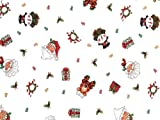 Pack Of 1, 40'' X 100' 1.0 Mil Ho Ho Holiday Christmas Print Cello Rolls W/Santas, Snowmen, Presents & ''Ho Ho Ho'' Text Made In USA