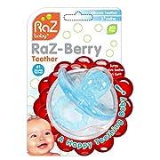 RaZbaby RaZ-Berry Silicone Teether / Multi-texture Design / Hands Free Design / Light Blue