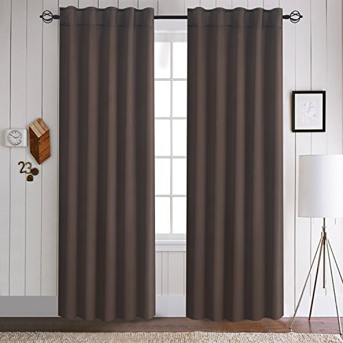 Aquazolax Thermal Insulated Solid Blackout Drapery Curtains for Nursery & Baby - with Back Tab/Rod Pocket, 2 Panels, 52x63, Toffee Brown