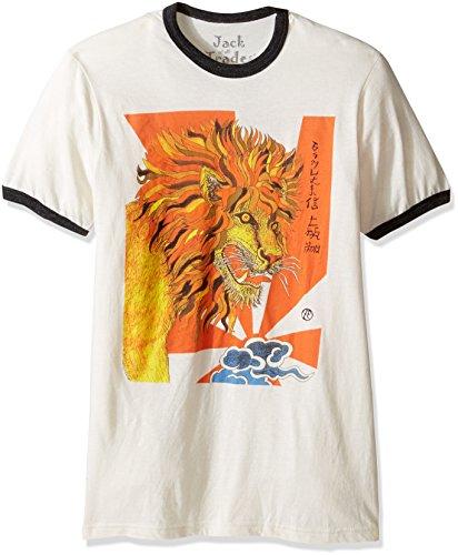 - Jack of all Trades Men's Zane Fix Strongest Belief, The Lion Tri Blend Ringer T-Shirt, Antique White/Onyx Heather X-Large
