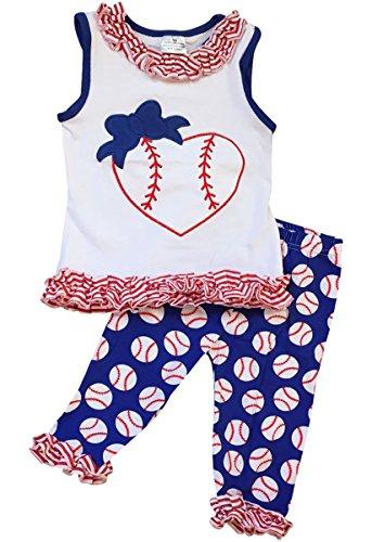 BNY Corner Little Girl Kids Sleeveless Ruffles Baseball Heart Pants Set White 6 XL 200663 ()