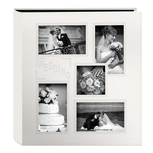 Pioneer Collage Frame Embossed ''Wedding'' Sewn Leatherette Cover Photo Album, Ivory by Pioneer Photo Albums