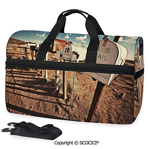 3D Printed Duffel Bag Old Mailboxes in West America Rural as a Crossbody bag