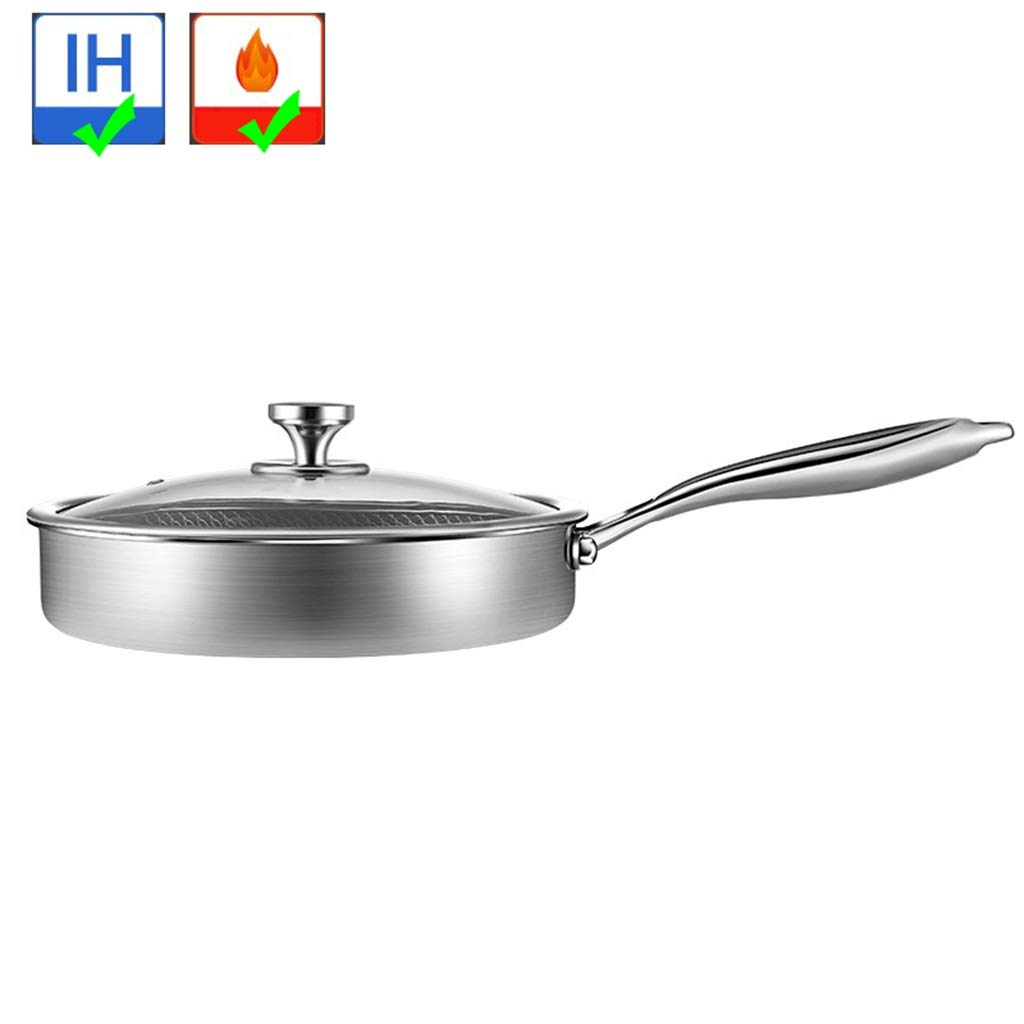 Frying Pans With Lid Saute Skillet Cooking Stainless Steel Fry Pot With Ultra Nonstick QYLOZ (Color : 26cm)