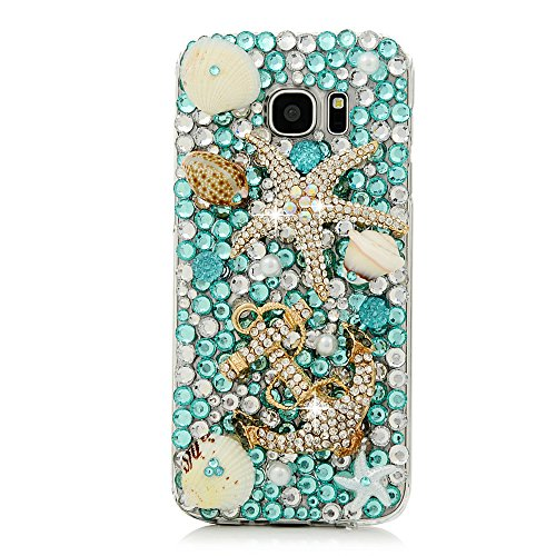 S7 Edge Case, Samsung Galaxy S7 Edge Case - Mavis's Diary 3D Handmade Blue Ocean Series Full Diamonds Bling Crystal Golden Anchor Starfish Cute Shells Design [Full Edge Protection] Clear Hard PC Cover (Samsung S7 Edge Best Themes)