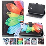 Galaxy Tab A 7.0 SM-T280 Case, Hybrid Synthetic Leather Stand [Stylish Design] Folio Case with [Card Slots] Cover for Samsung Galaxy Tab A 7.0 SM-T285, Colorful Petals