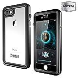 Temdan iPhone 7/8 Metal Waterproof Case with Kickstand Built in Screen Protector Full Body Metal Transparent Cover Shockproof Snowproof IP68 Waterproof Case for iPhone 7 (Metal black)