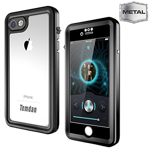 Temdan iPhone 7/8 Metal Waterproof Case Built in Screen Protector Full Body Metal Transparent Cover Shockproof Snowproof IP68 Waterproof Case for iPhone 7 (Metal Black) ()