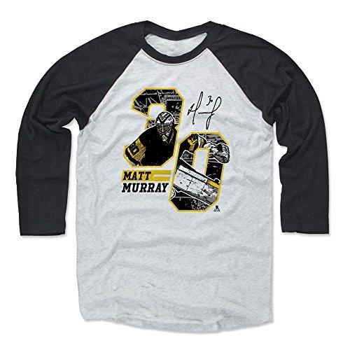 500 LEVEL Matt Murray Baseball Tee Shirt XX-Large Black/Ash - Pittsburgh Hockey Raglan Shirt - Matt Murray Offset K