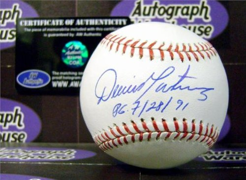 Dennis Martinez autographed baseball inscribed PG 7 28 91 (Perfect Game Montreal Expos OMLB) AW Certificate of Authenticity Hologram