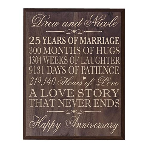 Personalalized 25th Wedding Anniversary Wall Plaque Gifts for Couple, Custom Made 25th Anniversary Gifts 12