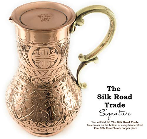 The Silk Road Trade - KS Series - NEW 2019-45oz Copper Pitcher and 7.7oz Cup Set with Lid, Moscow Mule Water Jug, Ice Tea and Juice Beverage, Desktop/Bedside Night Water Carafe Ayurvedic (Engraved) by The Silk Road Trade (Image #3)