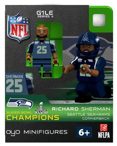 2013 Richard Sherman Super Bowl XLVIII 48 Champions Oyo Mini Figure Lego Compatible Seattle Seahawks production limitée